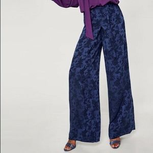 Zara Blue Floral Jacquard Wide Leg Trousers